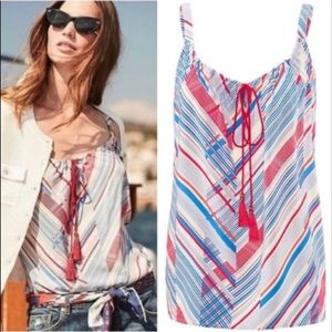 Cabi Red White Blue Striped Tassel Tank Medium